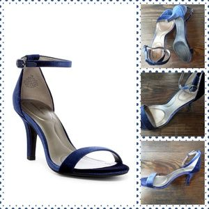 Bandolino Shoes - BANDOLINO BLue Velvet Ankle Strap Heels